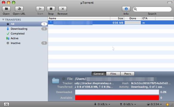 uTorent для Mac OS
